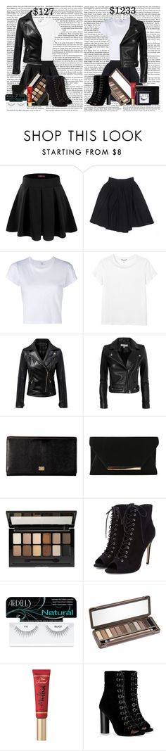 """""""outfit dupes #3"""" by tokyo-mocha ❤ liked on Polyvore featuring Doublju, RE/DONE, Monki, Chicnova Fashion, IRO, Dolce&Gabbana, Maybelline, Ardell, Urban Decay and Too Faced Cosmetics"""