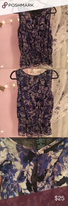 Keyhole tank top Blue, purple, black, and white tank top  Used but in good condition Cynthia Rowley Tops Tank Tops