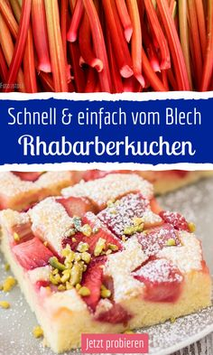 Rhabarberkuchen vom Blech - Hints for Women Rhubarb Cake, Cheesecake Brownies, Healthy Food List, Plated Desserts, Food Items, Food Presentation, Food Plating, Quick Easy Meals, Gourmet Recipes