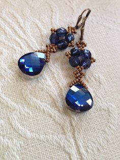 Midnight blue crystal earrings Swarovski blue by AmyKanarekDesigns.etsy.com