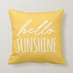 Hello Sunshine Sunny Yellow Throw Pillow