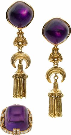 Amethyst, Diamond, Gold Jewelry Suite