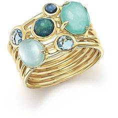 Ippolita 18K Yellow Gold Rock Candy Gelato Semi-Precious Multi-Stone... ($2,085) ❤ liked on Polyvore featuring jewelry, rings, gold cluster ring, multi stone ring, 18k yellow gold ring, gold rings and 18k gold ring