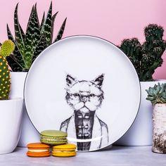 Dessert plate Persian cat – a unique product by GiftWorkshop. Via en.DaWanda.com.