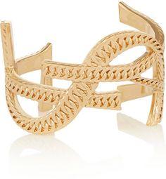 Saint Laurent Cassandre gold-plated cuff on shopstyle.com