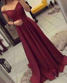 A-line Evening Gowns, Prom Dress with Off The