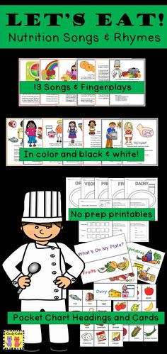 Proteins, Grains, Fruits, Veggies, and Dairy…introduce the basics of nutrition to your young learners with thirteen original songs, chants, and fingerplays. Sing them during circle time, during transitions, or use them as shared reading poems. UPDATED 9/8/15 with new fonts, more no-prep printables, and flannel board pieces! TpT$