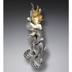 Mammoth Ivory Mermaid Pin or Pendant with 14kt Gold Fill, Handmade Silver - Mermaid in Kelp