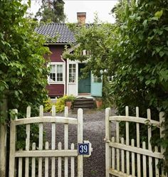 Gate to swedish cottage // Swede Cottage Farm // Swedish Cottage, Red Cottage, Swedish House, Cozy Cottage, Cottage Style, Garden Cottage, Little Cottages, Little Houses, Petits Cottages