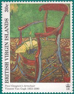 Paul Gauguin's Armchair -  Vincent Van Gogh Paintings on stamps