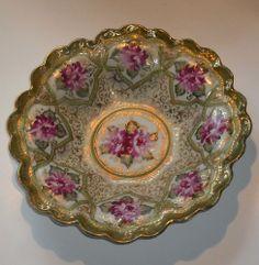 Antique Royal Kinran Crown Nippon Hand Painted Gilded Porcelain Bowl 1890-21