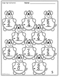 Touch Math Subtraction with Lion Theme: Single Digit