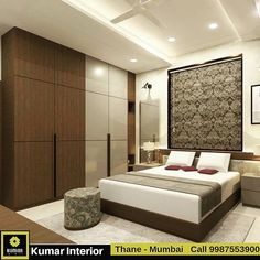 ❤️Kumar Interior -Specialized in Residential Interiors Thane- Mumbai❤️ ☑ 💯High Quality Services ✔️ ☑😍Cost effective Solutions✔️ ☑💓Delivery… Bedroom Cupboard Designs, Bedroom False Ceiling Design, Bedroom Layouts, Modern Bedroom Interior, Bedroom Bed Design, Ceiling Design Bedroom, Wardrobe Design Bedroom, Bedroom Closet Design, Bedroom Furniture Design