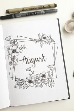 Need some monthly cover inspiration for the summer months! Check out the best bullet journal cover spread and page ideas for August! Bullet Journal Lettering Ideas, Bullet Journal Cover Ideas, Bullet Journal Banner, Bullet Journal Notebook, Bullet Journal Themes, Bullet Journal Layout, Bullet Journal Inspiration, Journal Covers, Bullet Journal School
