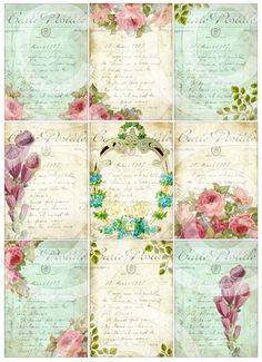 FReNCH GaRDeN CoLLeCTioN atc backgrounds antique postcards digital collage sheet…