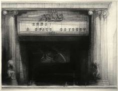 """Richard Bunkall """"Atlas Theater"""" h X w charcoal drawing. Structural Drawing, Art Viewer, Sense Of Place, Light Reflection, Charcoal Drawing, Pastel Art, Urban Landscape, American Artists, Landscape Paintings"""