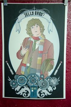"13x19 High Quality matte Poster, ""Jelly Babies, The Fourth Doctor"" Fanart cameo portrait, Doctor Who, Tom Baker, TARDIS by TheElliottsCloset on Etsy"