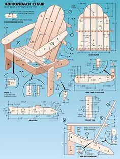 Classic Adirondack Chair Plans - Outdoor Furniture Plans and Projects - Woodwork, Woodworking, Woodworking Plans, Woodworking Projects Pallet Crafts, Pallet Projects, Wood Crafts, Diy Crafts, Plans Chaise Adirondack, Adirondack Furniture, Woodworking Plans, Woodworking Projects, Workbench Plans