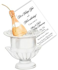 Champagne Bucket Die-Cut Invitations