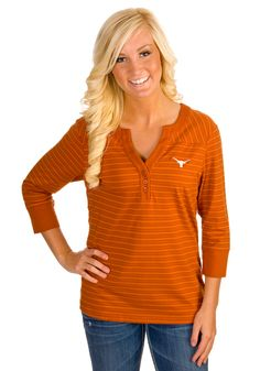 Texas (UT) Longhorns Women's Striped V-Neck Shirt