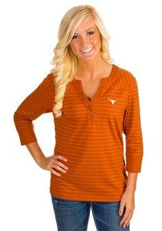 Texas (UT) Longhorns Women's Striped V-Neck Shirt