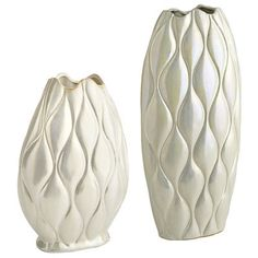 Wavy Lines Pearlized Vases