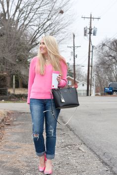 Casual Valentine's Day Outfit Idea | Hot Pink Sweater | Pearls & Twirls Life & Style Blog