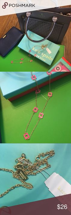 """NWT Kate Spade Hole Punch Long Station Necklace New with Tags and comes with Kate Spade dust bag. Approximately 30"""" in length. This listing is for the gold tone with pink spades but please see my closet for the same necklace in black and in yellow. Only one of each available at this time. Retail price is $78. kate spade Jewelry Necklaces"""