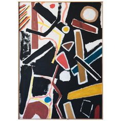 Mid-Century Untitled Abstract in Black, Yellow and Red, by Jacques Nestlé | See more antique and modern Paintings at https://www.1stdibs.com/furniture/wall-decorations/paintings