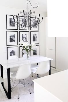 I find it very unfair that our apple tree does not bear fruit on our first year of suburban life. The pies I was suppose to make (not that I know how). Black And White Dining Room, Feminine Home Offices, White Houses, Home Office Design, Cool Walls, Home Decor Styles, Interior Inspiration, Room Decor, Interior Design