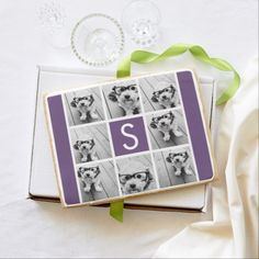 Aubergine and White Photo Collage Custom Monogram Jumbo Cookie