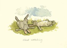 M20 CLOUD WATCHING A Two Bad Mice Card by Anita Jeram