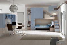 """#Arredamento #Cameretta Moretti Compact: Collezione 2012 """"Team"""" > Kids – Soluzione a #Soppalco >> ks29 http://www.moretticompact.it/kids.htm"""