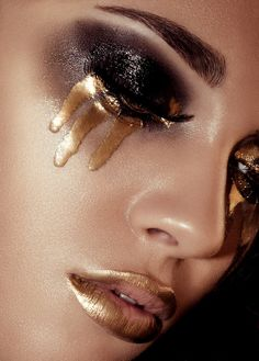 http://stefkapavlova.com/ | Fantasy Makeup | Gold Lips and tears, smokey eyes.