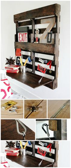 fold ned bord lavet på palle der hænger på væggen