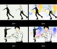 Ep. 1 and 2 opening comparison of Yuri!!! on Ice. Animators are adding bits of detail per episode(just wait for the last ep.)