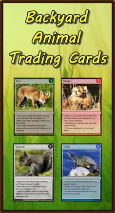 """Are you looking for a way to add interest to your Backyard Animal unit? Do you need activities for your learning stations? This package includes a set of 54 trading cards highlighting animals living in your neighborhood. Print and laminate the cards to create a standard set of playing cards. """"Educational Trading Card Games"""" details three original learning games. Creating Educational Trading Cards shows teachers and students how to make their own cards. ($)"""