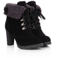 Amazon.com | Milesline Fashion Women's Booties Winter Warm Fur Lined... ($19) ❤ liked on Polyvore featuring shoes, boots, ankle booties, chunky high heel boots, lace up ankle booties, ankle boots, bootie boots and lace up boots