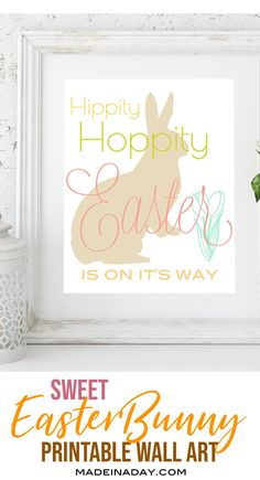 Looking for a sweet printable to decorate your home with this Spring? My sweet Hippity Hoppity Easter Printable wall art is perfect for holiday decorating. Diy Craft Projects, Diy And Crafts, Decor Crafts, Easter Printables, Party Printables, Free Printables, Mickey Mouse Parties, Minnie Mouse, Toy Story Birthday