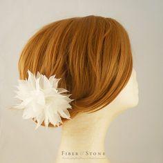 Pure Silk Wedding Hairpiece, White Wedding Hair Flower Comb, Reception Headpiece, Bridal Hair Flower, Hairpiece, Head Piece, Butterfly