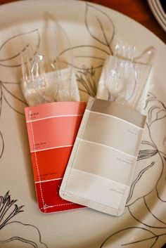 Kirsten Sessions Photography: Use paint swatches for utensil holders. Clever!