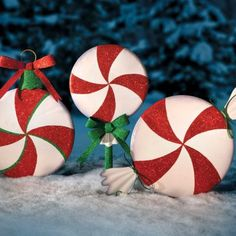Red/White Peppermint Candy Christmas Decorations | Holiday Decor ...