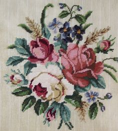 Here is a wonderful canvas with a Victorian feeling. A bouquet of roses is always a favorite. It is stitched in gros point on # 10 Penelope canvas. Canvas 27 x 27 Design 13 x 13