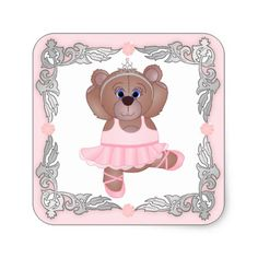 Cute Little Ballerina Cartoon Teddy Bear in Pink Square Sticker
