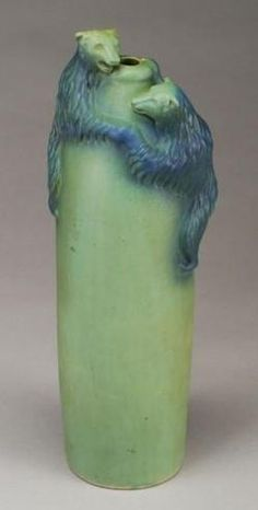 ◭ Penchant for Pottery ◮ Van Briggle bears vase - wow!