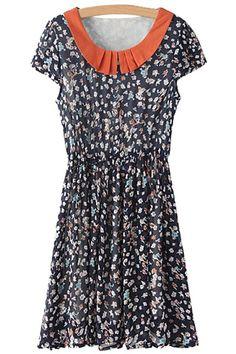 Tiny Floral Print Splicing Short Sleeve Dress