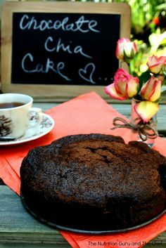 Chocolate Chia Seed cake. Grain free, gluten free. Would like to try this but with applesauce in place of eggs.