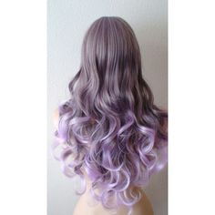 Lavender Ombre wig. Long curly hair long side bangs durable Heat... ($140) ❤ liked on Polyvore featuring beauty products, haircare, hair styling tools, hair, wigs and curly hair care