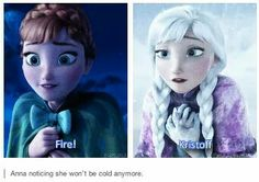 """Never noticed this until now. I also love that in the beginning when they are kids she tells Elsa """"Catch me!"""" Then Elsa starts making those snow pillars for Anna to jump on, then later when trying to climb the mountain and Olaf points out the staircase, she says """"Catch!"""" as she falls back into Kristoff. I just love that it shows how trusting she is, and it shows the two people she can truly trust bc they do catch her (even though Elsa drops her, it was an accident, where she can't trust…"""