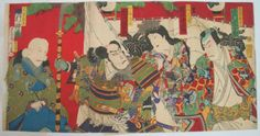 1880-Japanese-Original-Old-Woodblock-Print-Triptych-Samurai-Armor-by-Kunichika